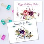 4 Boho Skulls Florals Greeting Cards