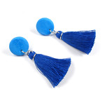 Tassel Stud Earrings, One of a kind polymer clay, Cotton tassels, Surgical steel