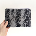 Screen printed Huon pine pouch / clutch - black print on grey