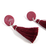 Tassel Earrings, One of a kind polymer clay, Cotton tassels, Surgical steel stud