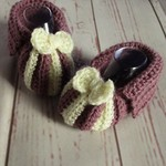 Crochet baby booties, newborn slippers, pregnancy announcement, purple and cream