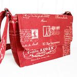 Red crossbody bag, French script satchel