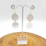Silver earrings, disc charm drop dangle earrings