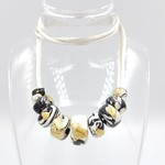 Bead necklace, black, white and gold, chunky marbled  beads, adjustable cord