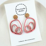 Coral Pink Abstract Scribble Stud Dangle Statement Earrings - Lasercut Wood