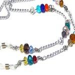 Reading eye glasses lanyard holder,  rainbow crystal chain
