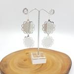 Silver earrings, large  flower charm, disc dangle earrings