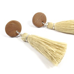 Tassel statement Earrings, Cotton, Polymer clay, Surgical steel Studs, Handmade