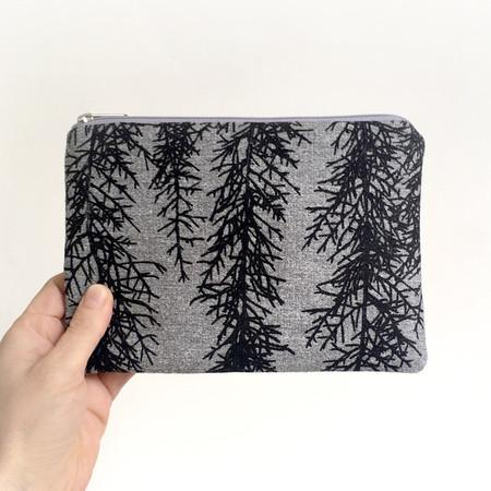 Screen printed Huon pine pouch / clutch - black print on grey