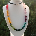 Czech glass rainbow, Sterling Silver, long necklace