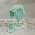 Vintage Mint Hand Crocheted Newborn Baby Bonnet Beanie Hat Photo Prop
