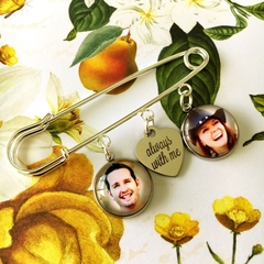 Lapel pin with two photos, Groom's boutonniere, Men's photo charms, Memory charm