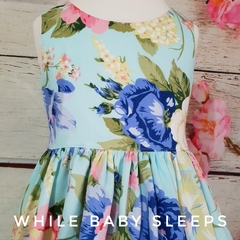Blue Floral Dress with Bow Sash and Elastic Back - Available Sizes 3, 4, 5