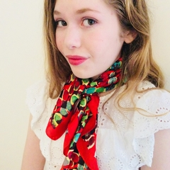 Silk Scarf in Red, 60cm x 60cm