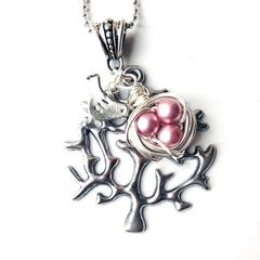 Bird Nest Necklace - Pink
