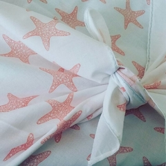 100% Cotton Wrap - Orange Star Fish Print, 90cm x 90cm