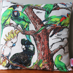 Vintage Retro Australian Cockatoo Birds Cushion