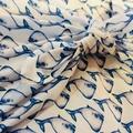 100% Cotton Wrap - Whale Print, 90cm x 90cm