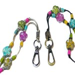 Lanyard for security ID badge, keys,  rainbow flower power
