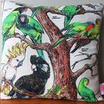 Vintage Retro Australian Cockatoo Birds Cushion
