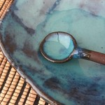 Ceramic bowl and spoon. Rustic blue ceramic bowl. Dessert bowl. Serving dish