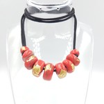 Bead necklace, red and gold chunky beads on adjustable satin cord