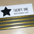 21st Birthday card - Twenty One - black & gold - or any age
