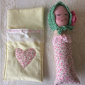 Baby doll and sleeping bag playset. Handmade, crocheted , toy, play, cute, bonne
