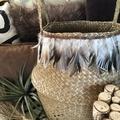 Boho belly basket, plant decor, feathers & leather trim. OOAK.