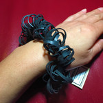 Bracelet made from recycled bicycle inner tubes. Size Female Large / Male Medium
