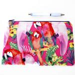 Parrot pencil case, pink zipper pouch