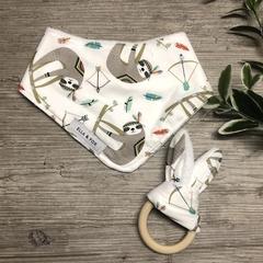 Baby Gift Set - Dribble Bib & Teether - Sloth & Feathers - Girl -Boy - Unisex