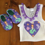 Mermaid singlet and booties gift set. New baby gift, crib shoes, pom pom trim. B