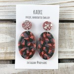 Handcrafted polymer clay stud dangle earrings in pink and lilac