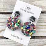 Handcrafted polymer clay stud dangle earrings in rainbow splash