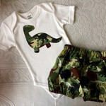 Baby boys outfit, bloomers and bodysuit set, dinosaur applique, handmade size 6-