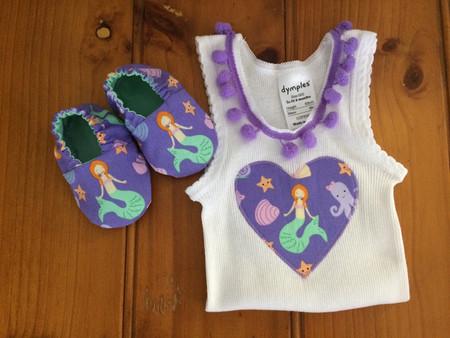 Mermaid singlet and booties gift set. New baby gift, crib shoes, pom pom trim. B