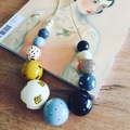"""Hand-painted """"Winter Mustard""""  Wooden Necklace"""
