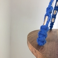 Cobalt blue plant hanger macrame timber and copper beads