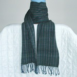 Long Unisex Scarf, Pure Wool, Hand Woven, Dark Green & Navy