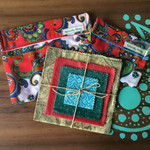 Sustainable kitchen set 4 beeswax wraps and 2 snack bags