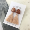 Polymer clay tassel earrings with glitter- nude pink