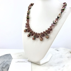 Cloisonne enamelled beads and crystal necklace