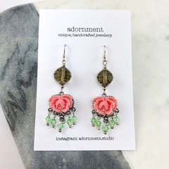 Crystal and floral earrings with Sterling Silver 925 Earring Hooks