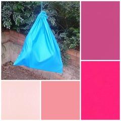 Extra large cotton drawstring bag, pink fuchsia for toys, storage, kinder