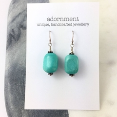 Turquoise nugget earrings with sterling silver hooks
