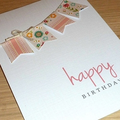 Female Happy Birthday card - vintage bunting