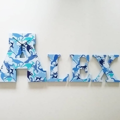 WOODEN LETTER CLOCK NAME - ALEX or AXEL