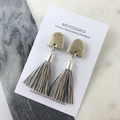 Polymer clay tassel earrings with glitter- silver