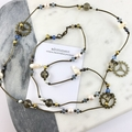 Steampunk Cog and Gear Long Pearl and Crystal Necklace, Bronze Metal Hardware